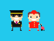 Cabin Crew. Pixel art cabin crew, captain pilot and stewardess isolated on blue background Stock Photos