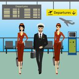 Cabin crew walks on an airport with luggage royalty free illustration