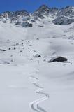 Cabin cross and ski tracks Royalty Free Stock Photo