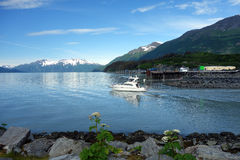A cabin-cruiser bound for prince william sound Stock Images