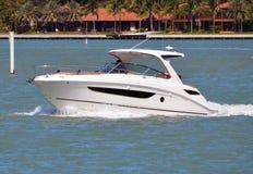 Cabin Cruiser on the Florida Intra-coastal Stock Photos