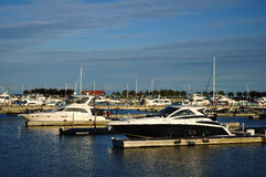 Cabin Cruisers Docked at Marina. Cabin Cruiser Yachts Docked at a Lakeside Marina Royalty Free Stock Photography