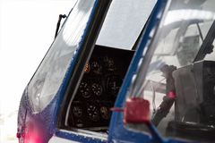 Cabin and dashboard of the helicopter royalty free stock photos