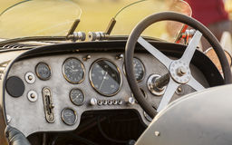 Cabin - dashboard of a retro Bugatti vintage sports car. New Delhi, India - February 6, 2016: Cabin / dashboard of a retro Bugatti vintage sports car on display Stock Photo