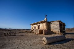 Cabin in the desert. Cabin in a desert of Bardenas of Navarra, Spain Royalty Free Stock Photography