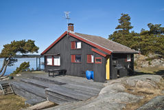 Cabin at Dusa. Dusa is a public recreation area located in Skjeberg, between Sarpsborg and Halden. In summer, Dusa is a favorite swimming and recreation spot Stock Image