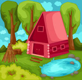Cabin in forest vector illustration