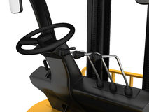 Cabin forklift truck with levers and steering Royalty Free Stock Images