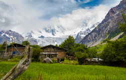 Cabin and glacier Royalty Free Stock Photo