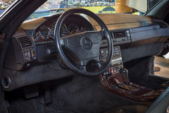 Cabin of grand tourer car Mercedes-Benz 600 SL (R129), 1993. STUTTGART, GERMANY - MARCH 18, 2016: Cabin of grand tourer car Mercedes-Benz 600 SL (R129), 1993 stock photo