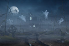 Cabin and a graveyard in a spooky forest at night Stock Photo