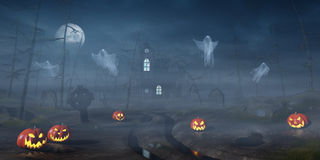 Cabin in a Halloween forest with pumpkin lanterns at night Stock Photography