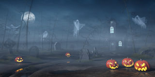 Cabin in a Halloween forest with pumpkin lanterns at night stock illustration