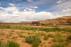 Cabin and hay in rural Utah Stock Photo