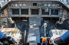 Cabin helicopter view of the panel instruments and the steering wheel Royalty Free Stock Photography