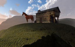 Cabin and horse on hill Stock Photo