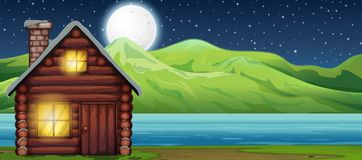 Cabin house at night scen royalty free illustration