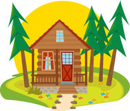 Cabin Icon. Cute cabin in the woods. Eps10 vector illustration