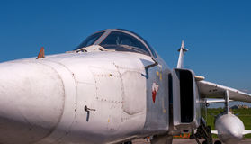 The cabin of a jet fighter pilot of Sukhoi SU24 - On the codification of NATO: Fencer. Soviet and Russian tactical front bomber with variable sweep wing royalty free stock photos