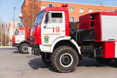 Cabin of Kamaz truck as a Russian fire engine Stock Image