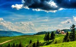 Mountain Cabin Landscape. Landscape with Ciucas Cabin in Romanian Carpathians Royalty Free Stock Photo