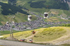Free Cabin Lift In Mountain Bikepark Mottolino On 3 August 2016 In Livigno, Italy. Royalty Free Stock Images - 81267079