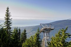 Cabin lift mechanism on top of mountain. British Columbia, Canada stock photography
