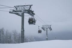 Cabin lift 8-seater gondola type in Gorky Gorod Stock Photo