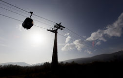 Cabin lift silhouette Stock Image