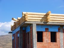 Cahlet under construction. The cabin logs under construction Royalty Free Stock Photography