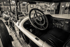 Cabin of a luxury car Mercedes-Benz 24/100/140 PS Fleetwood, 1924. Stock Photos