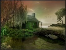 Cabin on a marsh Stock Images