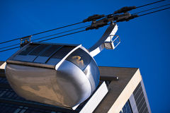 Cabin monorail  Furniculars at the wall of modern building Royalty Free Stock Images