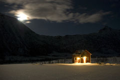 Cabin in moonlight Royalty Free Stock Photo