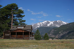 Cabin In Mountains. Cabin at Rocky Mountain National Park in Colorado Stock Photo