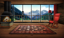 Cabin in the mountains. Illustration Stock Photos
