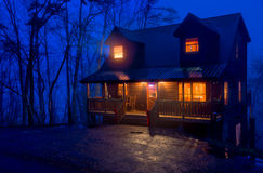 Cabin in the Mountains at night Royalty Free Stock Photography