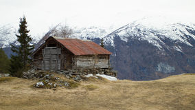 Cabin in mountains. Mountains in norway Stock Images