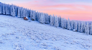 Cabin in the mountains in winter Royalty Free Stock Image