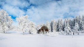 Cabin in the mountains in winter. Mysterious fog. In anticipation of holidays. Carpathians. Ukraine, Europe stock images