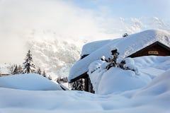 Cabin in Murren, Swiss Alps. Secluded cabin in Murren, valley of Lauterbrunnen, Bernese Alps, Switzerland, Europe Royalty Free Stock Photography