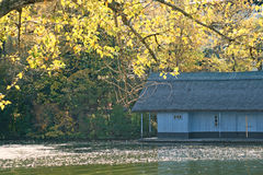 Cabin near lake. In autumn time Royalty Free Stock Images