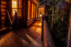 Cabin at Night Stock Photo