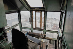The cabin of the old gantry crane. Stock Images