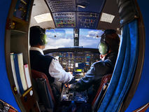 The cabin of the old passenger plane with pilots Stock Images