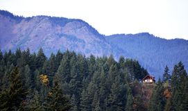 The Cabin. A cabin perched on top of a mountain Stock Images