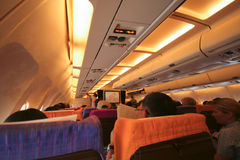 Cabin photo of HS-TAP Airbus A300-600 of Thaiairway. Royalty Free Stock Photos