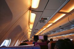 Cabin photo of HS-TAP Airbus A300-600 of Thaiairway. Royalty Free Stock Images