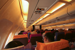 Cabin photo of HS-TAP Airbus A300-600 of Thaiairway. Royalty Free Stock Image