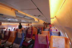 Cabin photo of HS-TAP Airbus A300-600 of Thaiairway. Stock Image